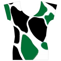Green Black Digital Pattern Art Women s V-Neck Cap Sleeve Top