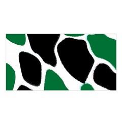 Green Black Digital Pattern Art Satin Shawl