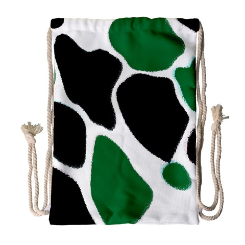 Green Black Digital Pattern Art Drawstring Bag (Large)