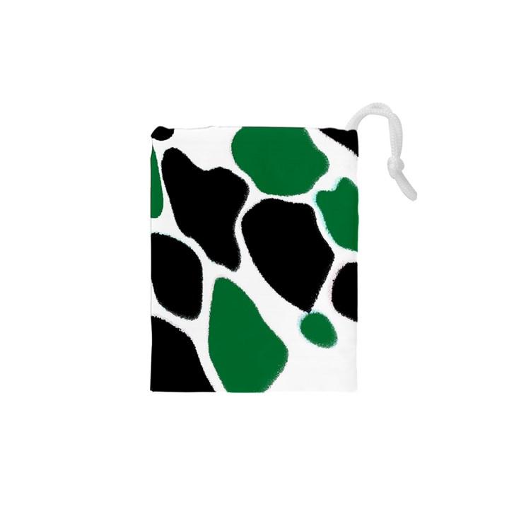 Green Black Digital Pattern Art Drawstring Pouches (XS)