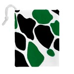 Green Black Digital Pattern Art Drawstring Pouches (Extra Large) Back