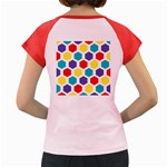 Hexagon Pattern  Women s Cap Sleeve T-Shirt Back