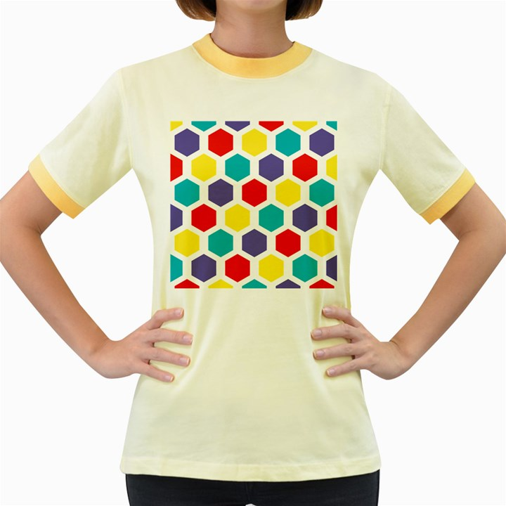 Hexagon Pattern  Women s Fitted Ringer T-Shirts
