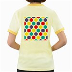 Hexagon Pattern  Women s Fitted Ringer T-Shirts Back