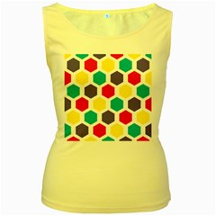Hexagon Pattern  Women s Yellow Tank Top