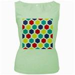 Hexagon Pattern  Women s Green Tank Top Front