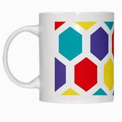 Hexagon Pattern  White Mugs