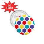 Hexagon Pattern  1.75  Buttons (10 pack) Front