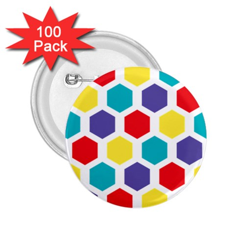 Hexagon Pattern  2.25  Buttons (100 pack)
