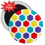 Hexagon Pattern  3  Magnets (10 pack)  Front