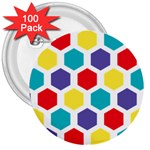 Hexagon Pattern  3  Buttons (100 pack)  Front