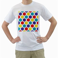 Hexagon Pattern  Men s T-Shirt (White) (Two Sided)