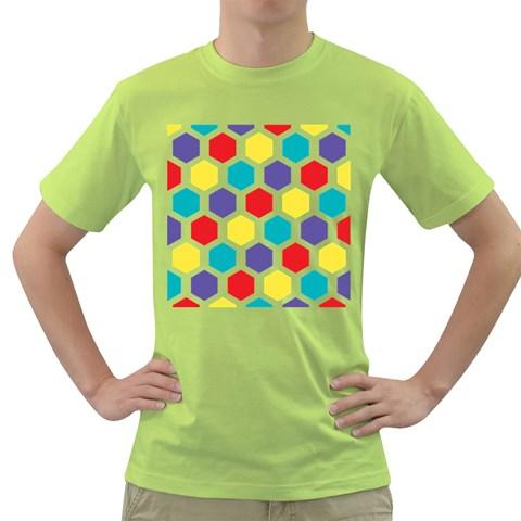 Hexagon Pattern  Green T-Shirt