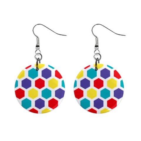 Hexagon Pattern  Mini Button Earrings