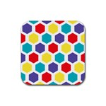Hexagon Pattern  Rubber Square Coaster (4 pack)  Front