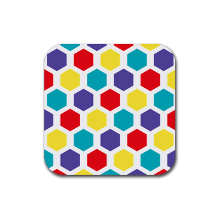 Hexagon Pattern  Rubber Square Coaster (4 pack)