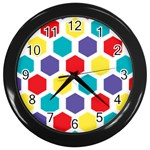 Hexagon Pattern  Wall Clocks (Black) Front