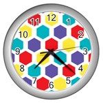 Hexagon Pattern  Wall Clocks (Silver)  Front