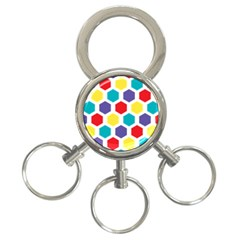 Hexagon Pattern  3-Ring Key Chains