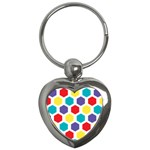 Hexagon Pattern  Key Chains (Heart)  Front