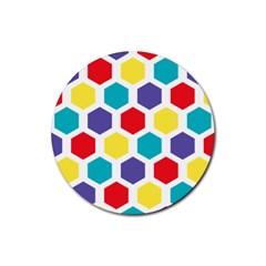 Hexagon Pattern  Rubber Coaster (Round)