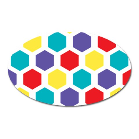 Hexagon Pattern  Oval Magnet