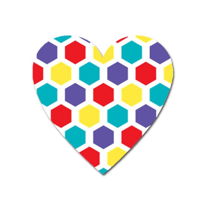 Hexagon Pattern  Heart Magnet