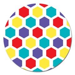 Hexagon Pattern  Magnet 5  (Round)