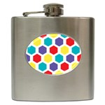 Hexagon Pattern  Hip Flask (6 oz) Front