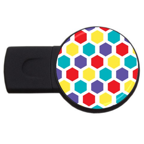 Hexagon Pattern  USB Flash Drive Round (1 GB)