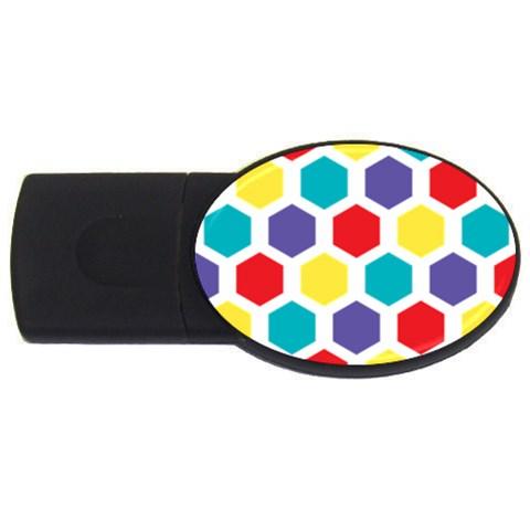 Hexagon Pattern  USB Flash Drive Oval (1 GB)