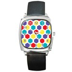 Hexagon Pattern  Square Metal Watch Front