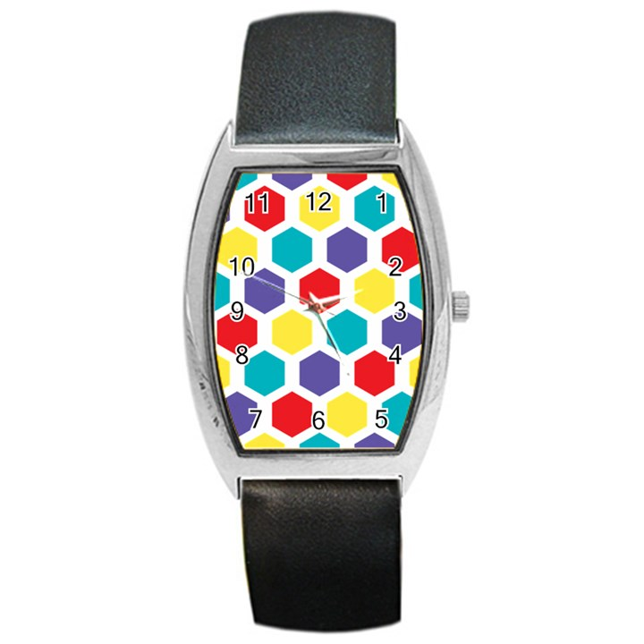 Hexagon Pattern  Barrel Style Metal Watch