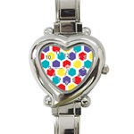 Hexagon Pattern  Heart Italian Charm Watch Front