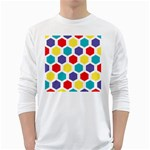 Hexagon Pattern  White Long Sleeve T-Shirts Front