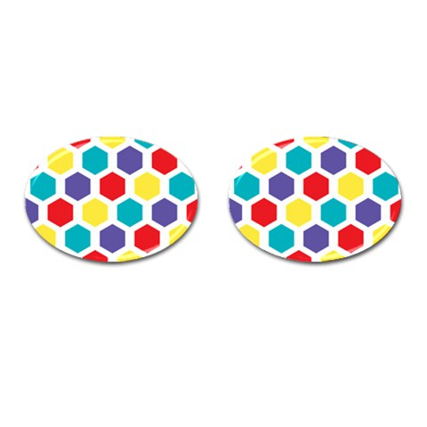 Hexagon Pattern  Cufflinks (Oval)