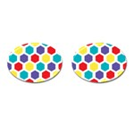 Hexagon Pattern  Cufflinks (Oval) Front