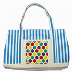 Hexagon Pattern  Striped Blue Tote Bag Front