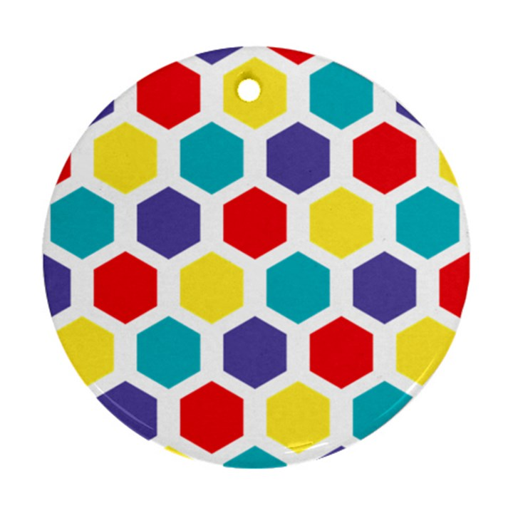 Hexagon Pattern  Round Ornament (Two Sides)