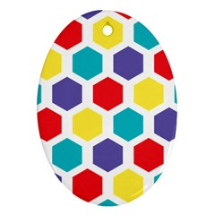 Hexagon Pattern  Oval Ornament (Two Sides)