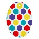 Hexagon Pattern  Oval Ornament (Two Sides) Front