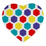 Hexagon Pattern  Heart Ornament (2 Sides) Front