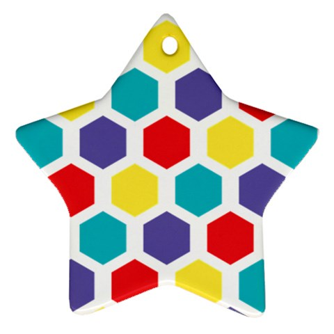 Hexagon Pattern  Star Ornament (Two Sides)