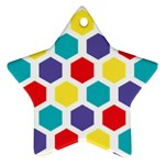 Hexagon Pattern  Star Ornament (Two Sides)  Back