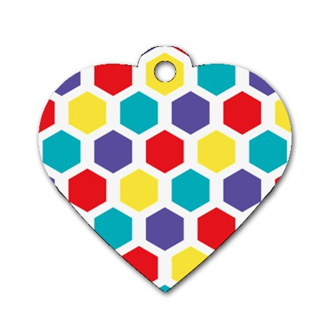 Hexagon Pattern  Dog Tag Heart (One Side)