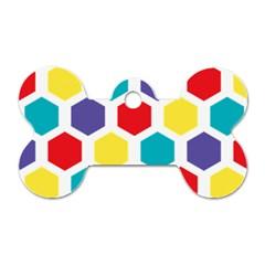 Hexagon Pattern  Dog Tag Bone (One Side)