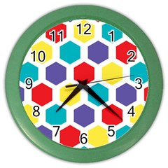 Hexagon Pattern  Color Wall Clocks