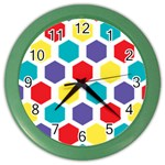 Hexagon Pattern  Color Wall Clocks Front