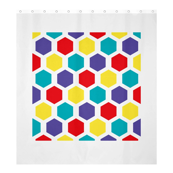 Hexagon Pattern  Shower Curtain 66  x 72  (Large)