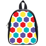 Hexagon Pattern  School Bags (Small)  Front